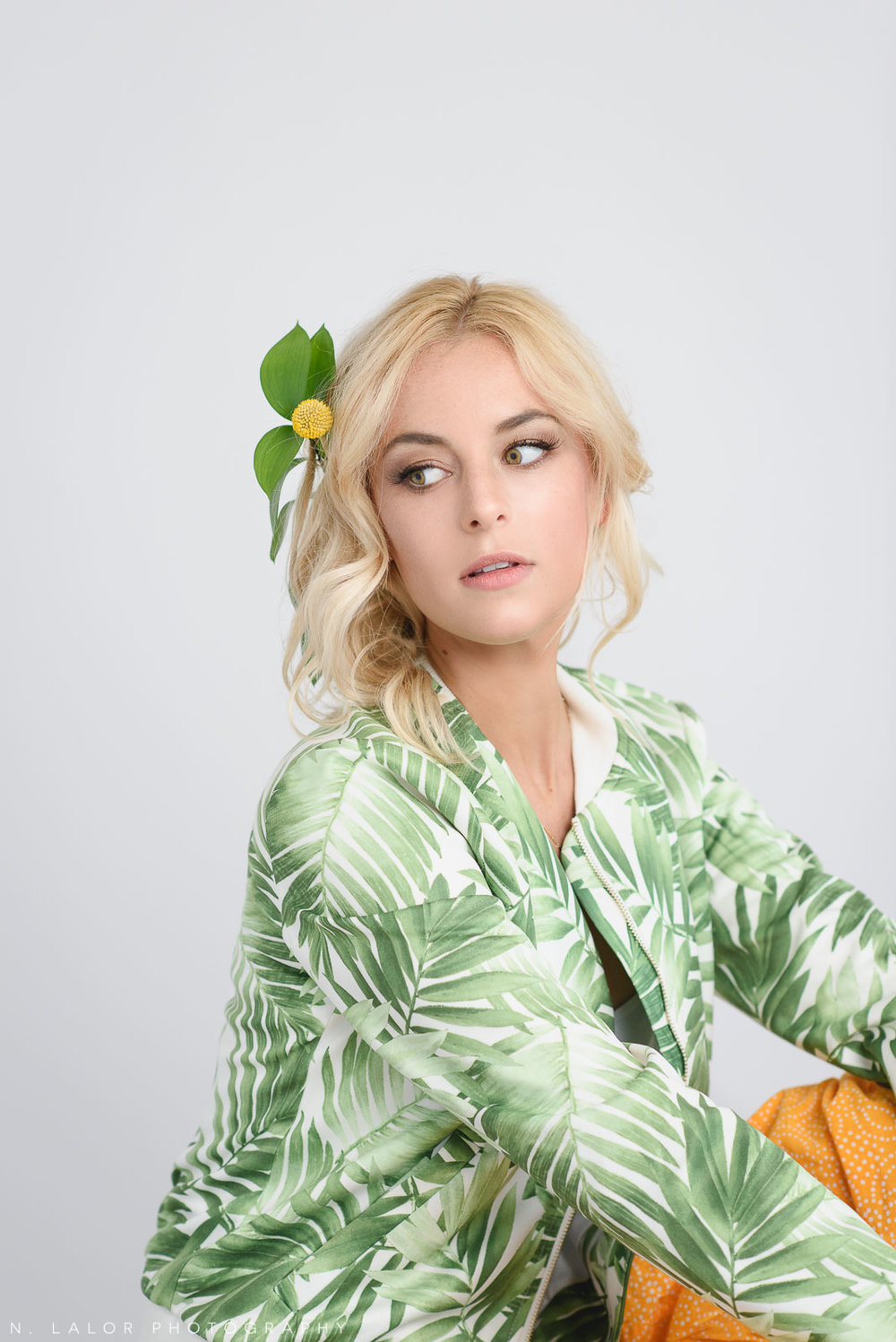 Green and yellow, leaf jacket and boho hairstyle. Commercial portrait session for Haus of Pretty with N. Lalor Photography in Greenwich, Connecticut.