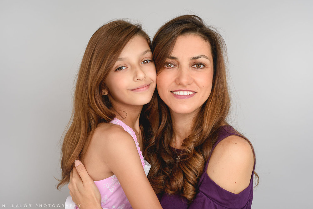 Mother and daughter portrait. Family Studio photoshoot with N. Lalor Photography in Greenwich, Connecticut.