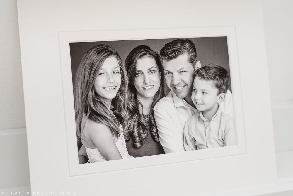 Candid family portrait. Family Studio photoshoot with N. Lalor Photography in Greenwich, Connecticut.