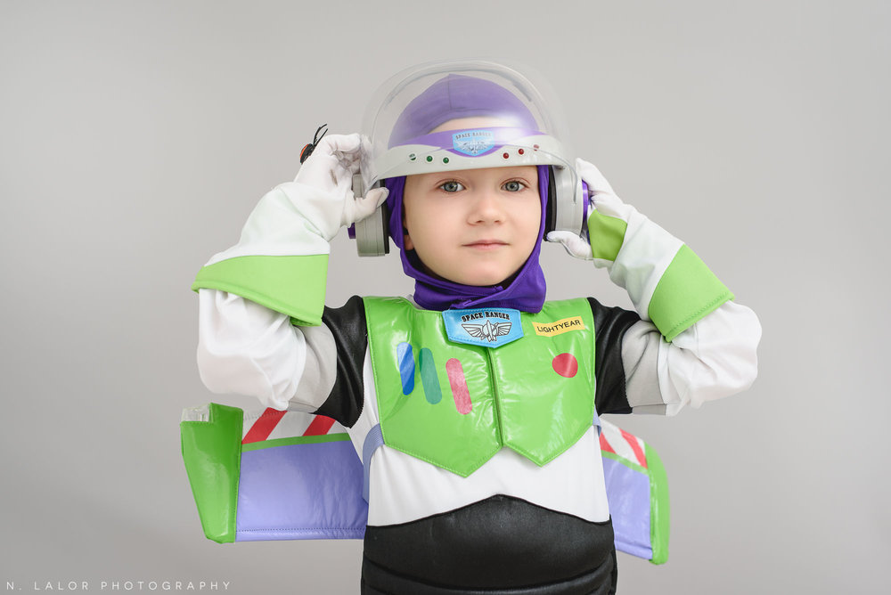 Buzz Lightyear. Halloween Kids Portrait by N. Lalor Photography. Greenwich, Connecticut.