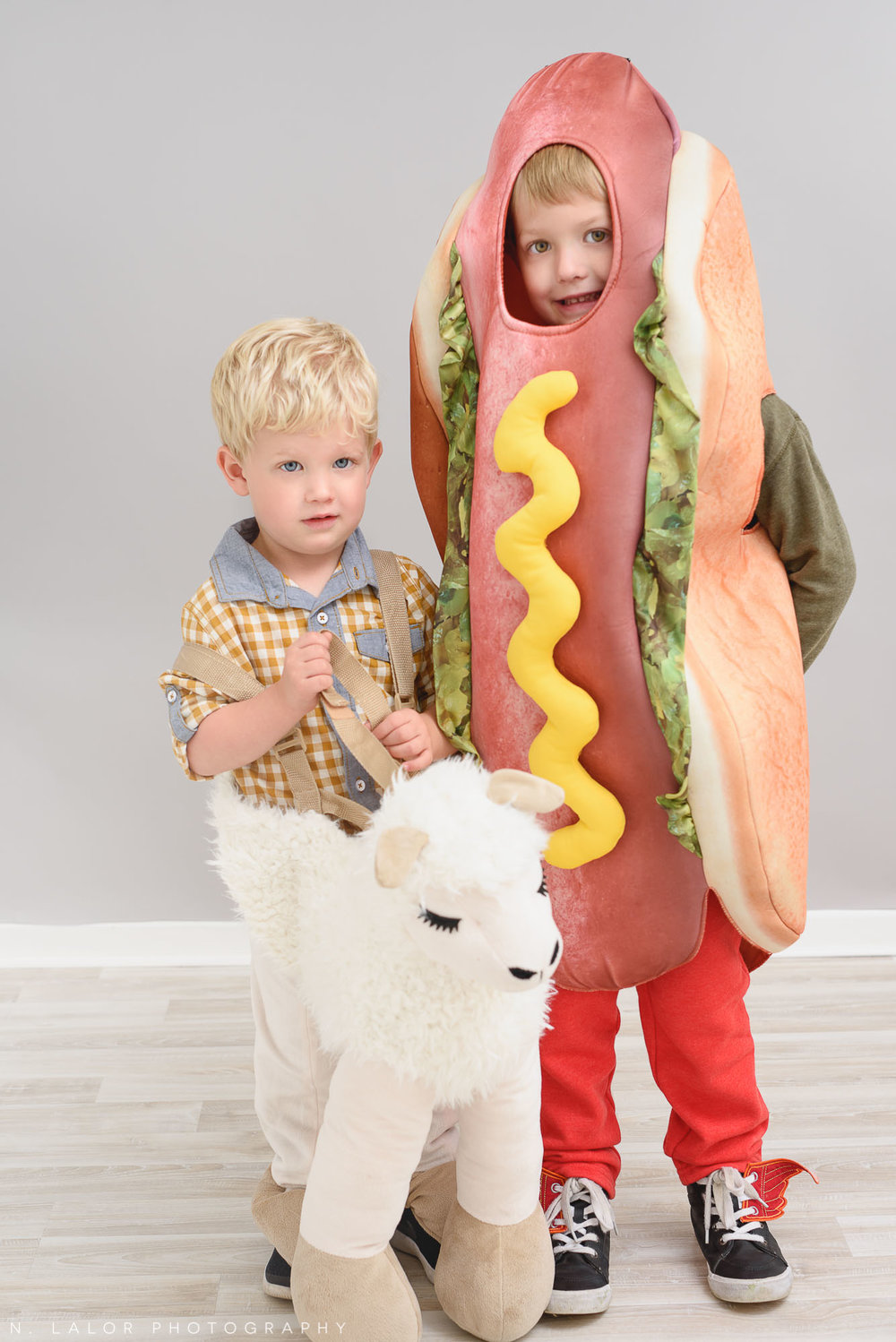Llama and hot dog together. Halloween Kids Portrait by N. Lalor Photography. Greenwich, Connecticut.