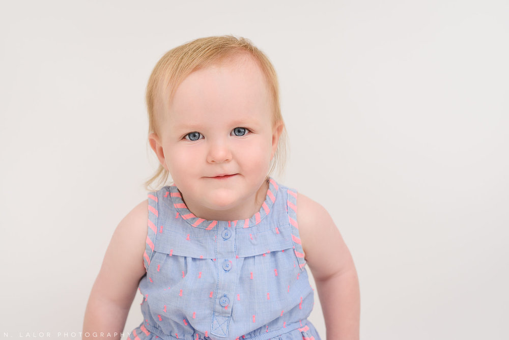 Morgan, 18 months old. Portrait by N. Lalor Photography in Greenwich, Connecticut.