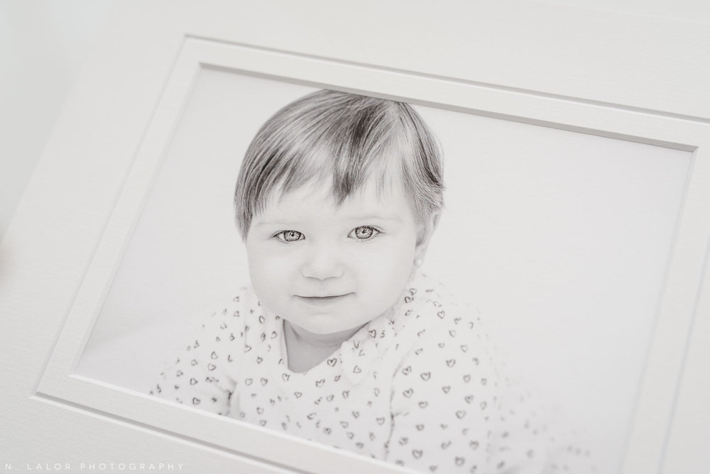 Clara, b&w printed and matted photograph. Family portrait session with N. Lalor Photography in Greenwich, Connecticut.