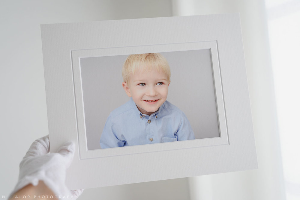 Henry, fine art matted print. Family portrait session with N. Lalor Photography in Greenwich, Connecticut.