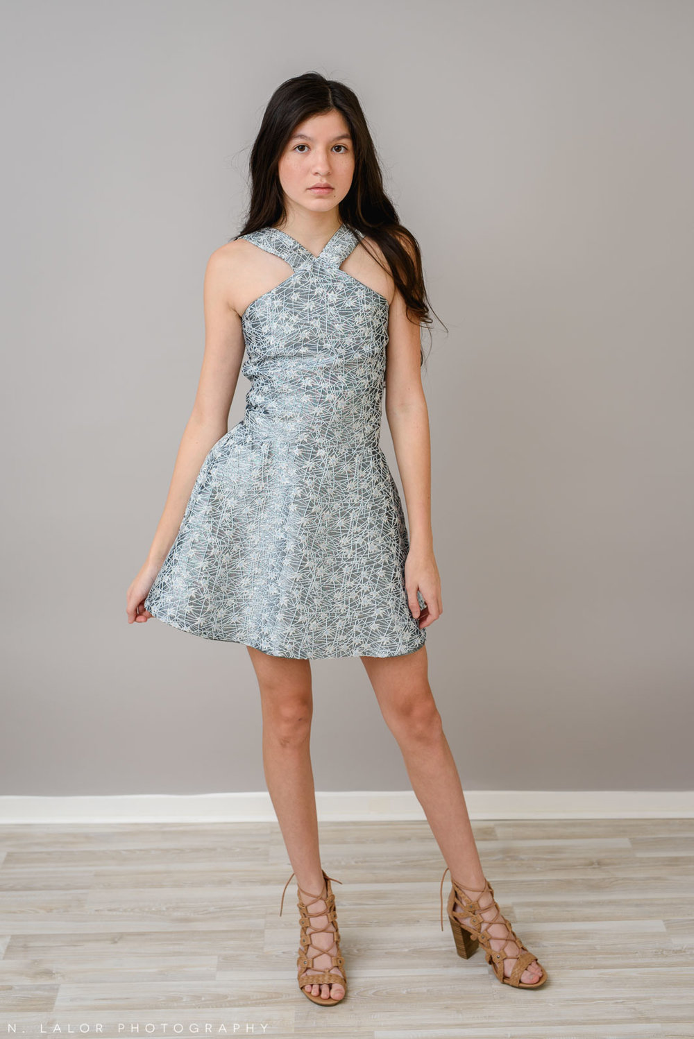 REESE dress in Silver + Pale Blue Galaxy. Photoshoot for Stella M'Lia by N. Lalor Photography in Greenwich, Connecticut.