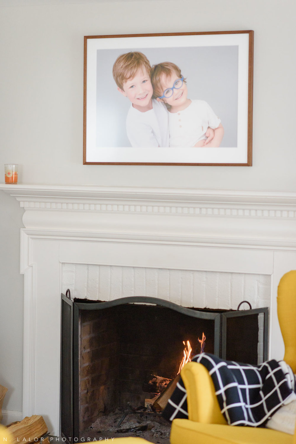 """Image of a large 30x20"""" framed photograph of two brothers. Photograph by N. Lalor Photography."""