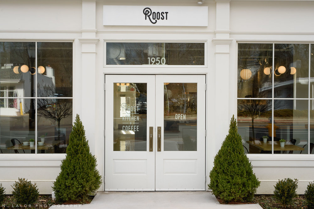 Exterior entrance. Roost Darien, small business photos by N. Lalor Photography.
