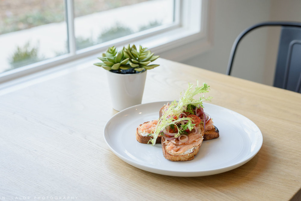 Salmon toast. Roost Darien, small business photos by N. Lalor Photography.