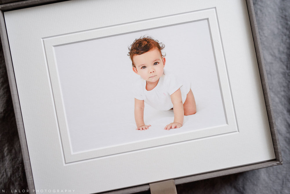 Beautiful museum quality fine art print. Baby milestone session with N. Lalor Photography in Greenwich, Connecticut.