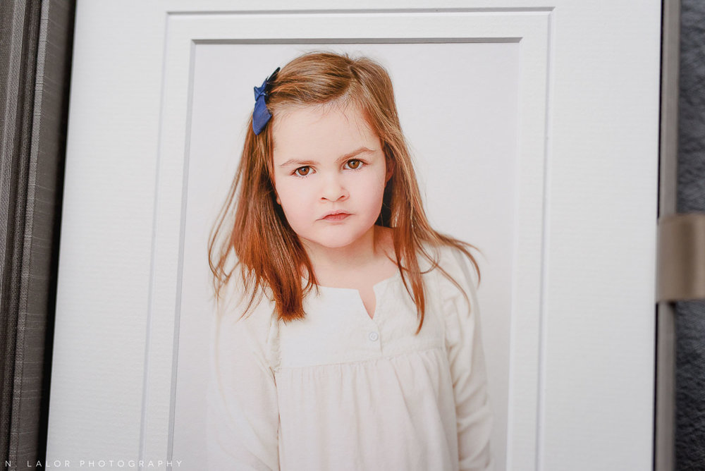 Fine art print of 5-year old girl portrait. Family photo session with N. Lalor Photography in Greenwich, Connecticut.