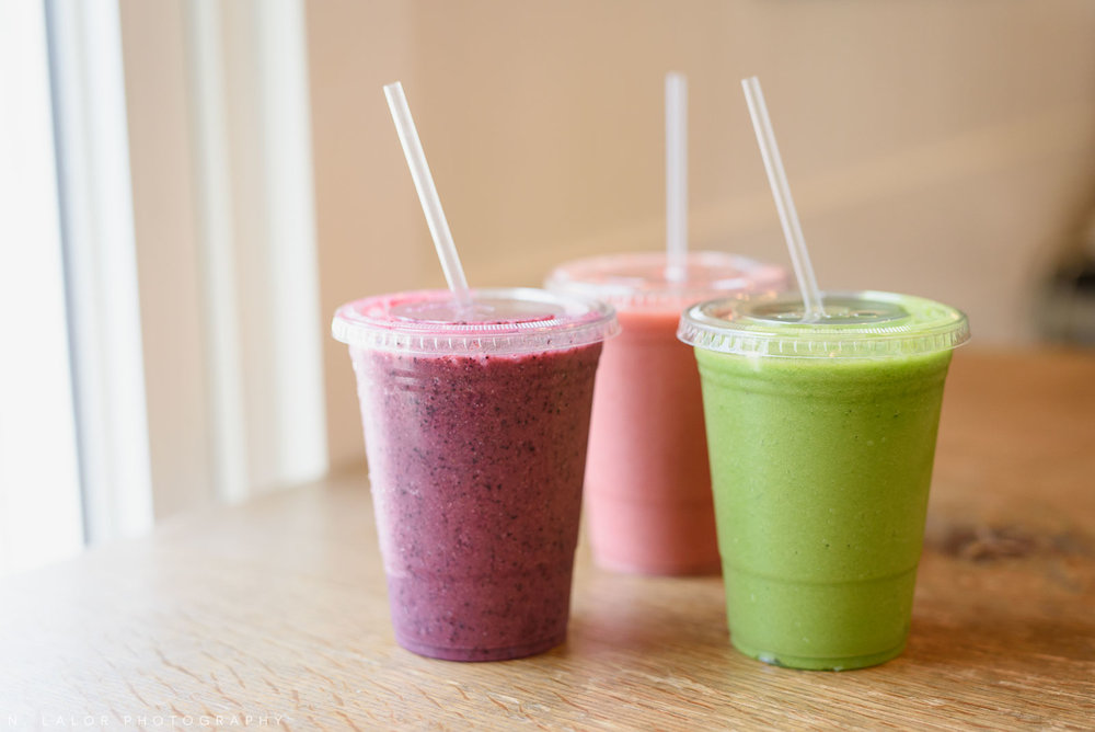 Smoothies! Ada's Kitchen + Coffee in Riverside, Connecticut. Image by N. Lalor Photography.