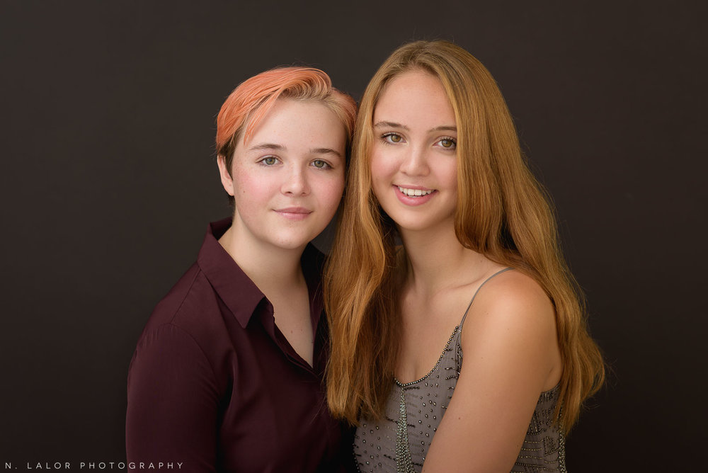 Family portrait of two sisters by N. Lalor Photography in Greenwich, CT.