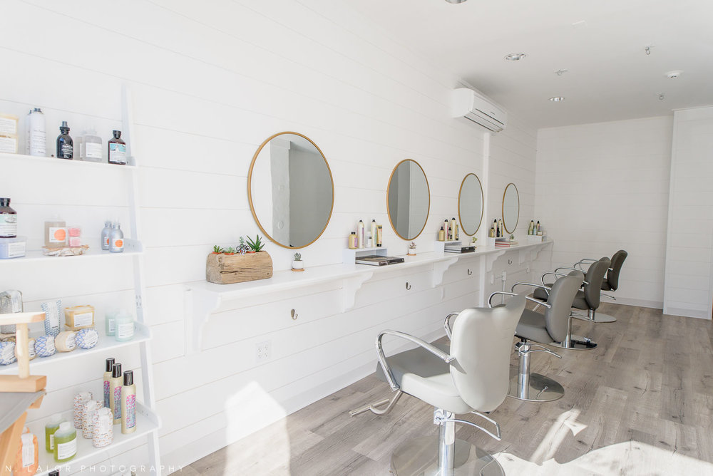 Haus of Pretty interior, shiplap and round mirrors. Photo by N. Lalor Photography.