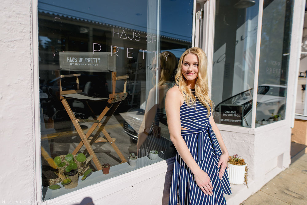 Kelsey Morey, in front of her Salon, Haus of Pretty in Westport, Connecticut. Photo by N. Lalor Photography.
