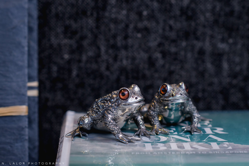 Back 40 Mercantile silver frog salt and pepper shakers, in Old Greenwich, Connecticut. Image by N. Lalor Photography.