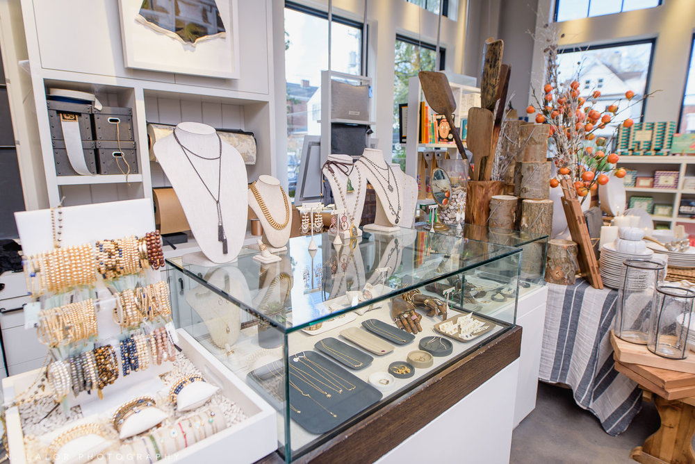 Back 40 Mercantile jewelry display, in Old Greenwich, Connecticut. Image by N. Lalor Photography.