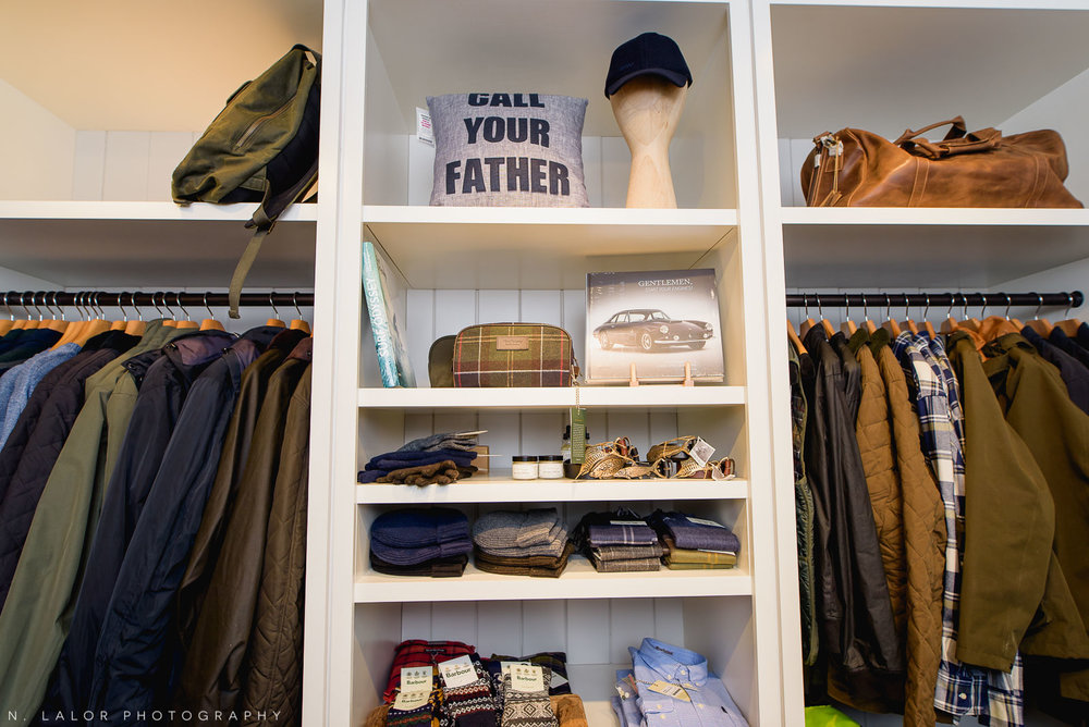 Back 40 Mercantile Barbour section for men, in Old Greenwich, Connecticut. Image by N. Lalor Photography.