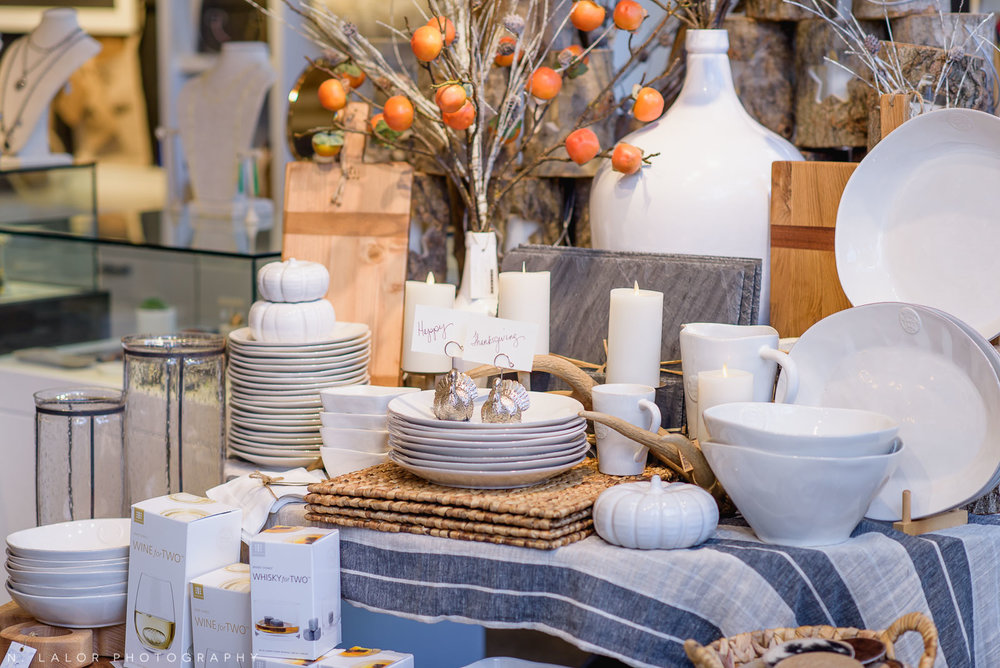 Back 40 Mercantile home goods display, in Old Greenwich, Connecticut. Image by N. Lalor Photography.