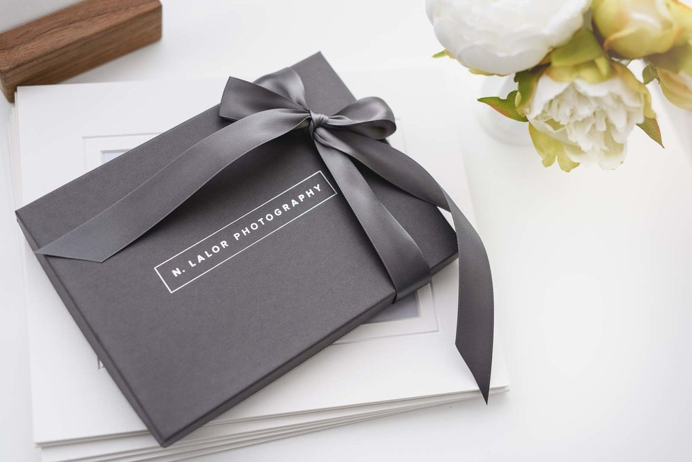 Image of a photo gift box by N. Lalor Photography in Greenwich, Connecticut.