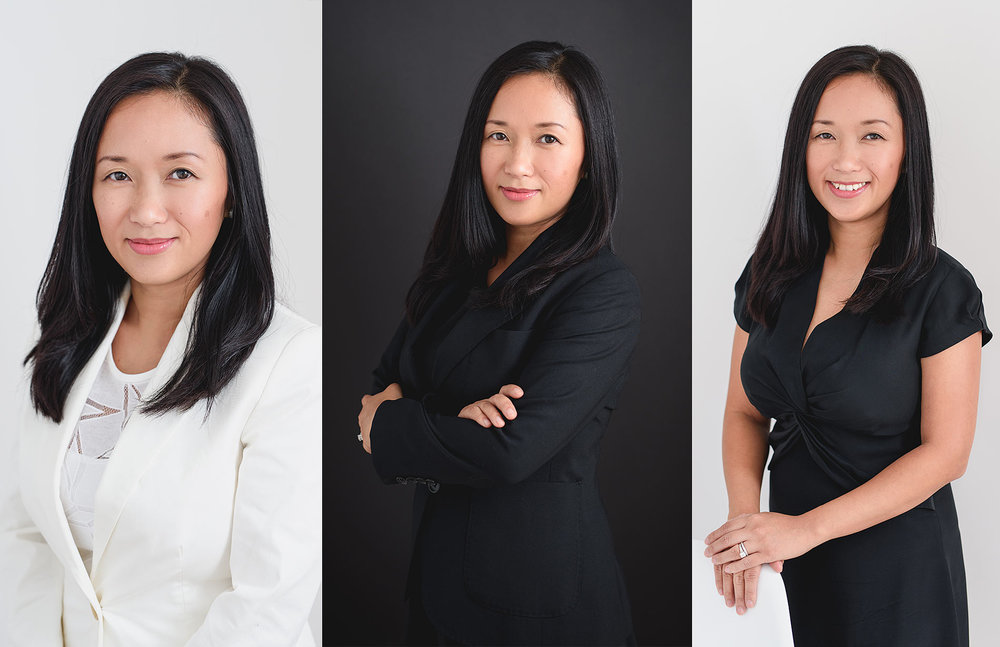 Image of three professional headshots for a local lawyer, dressed in classic flattering clothing. Studio portraits by N. Lalor Photography in Greenwich, Connecticut.