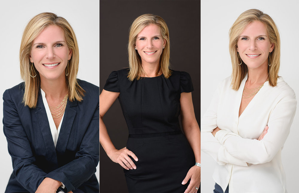 Business headshots of a woman CEO with 3 different looks and poses. Professional headshots by N. Lalor Photography in Greenwich, Connecticut.
