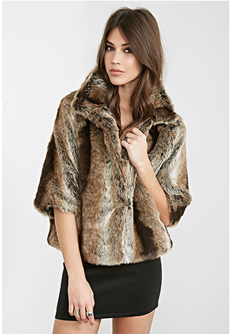 high collar faux fur Forever 21