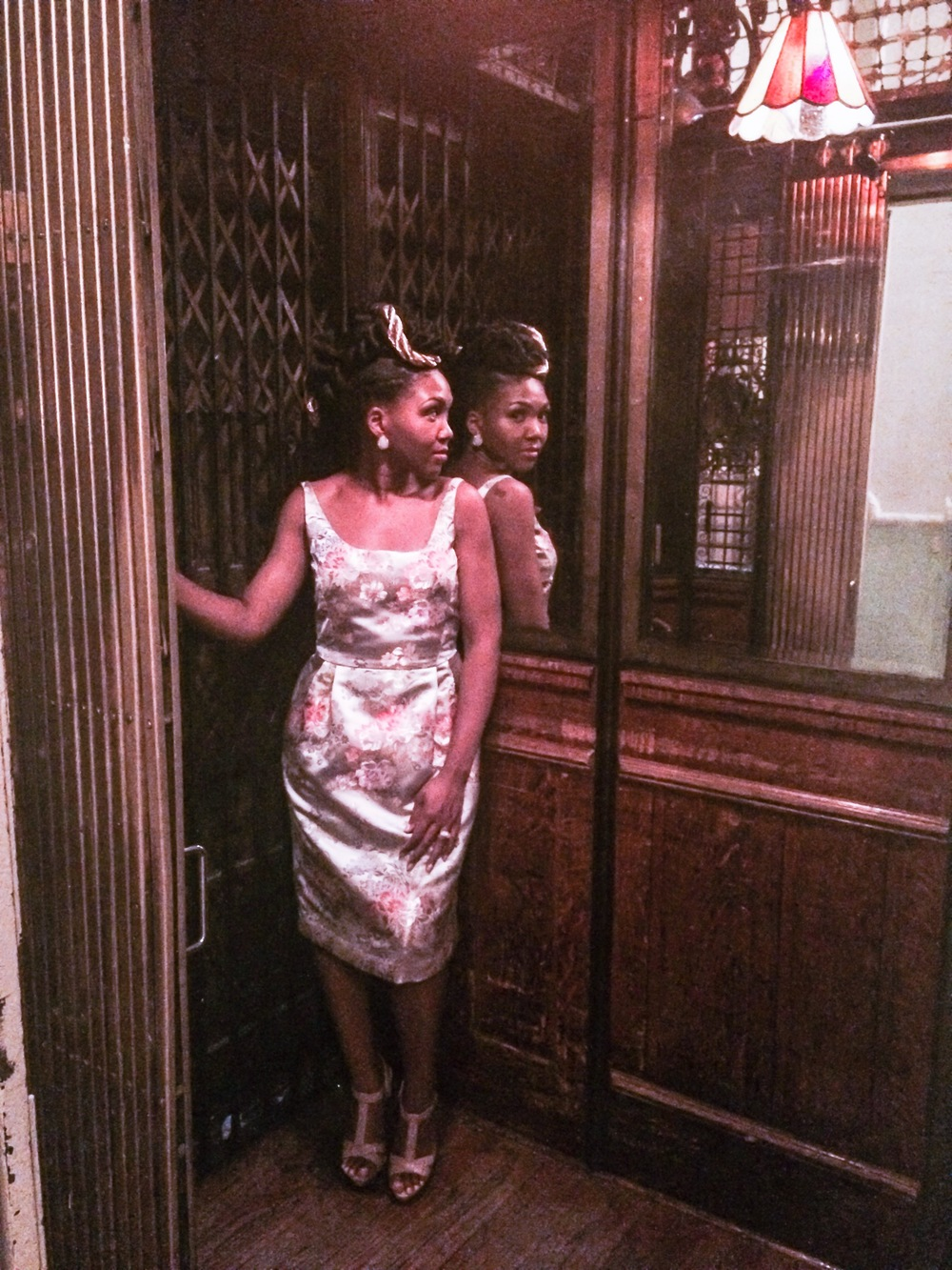 "Getting my vintage pose on in Brooklyn, NY's   first ""French birdcage"" elevator at Grand Prospect Hall built in 1892 and still works!"