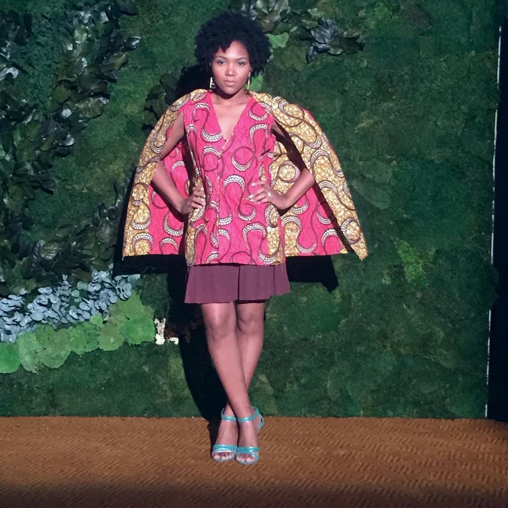 Outfit Details: Cape blazer (custom), Skirt,  Sandals (similar)
