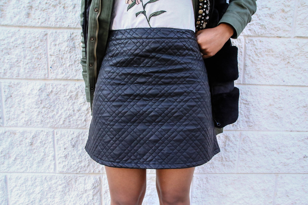 FASHION DETAILS:   Quilted skirt:  Forever 21 (similar)