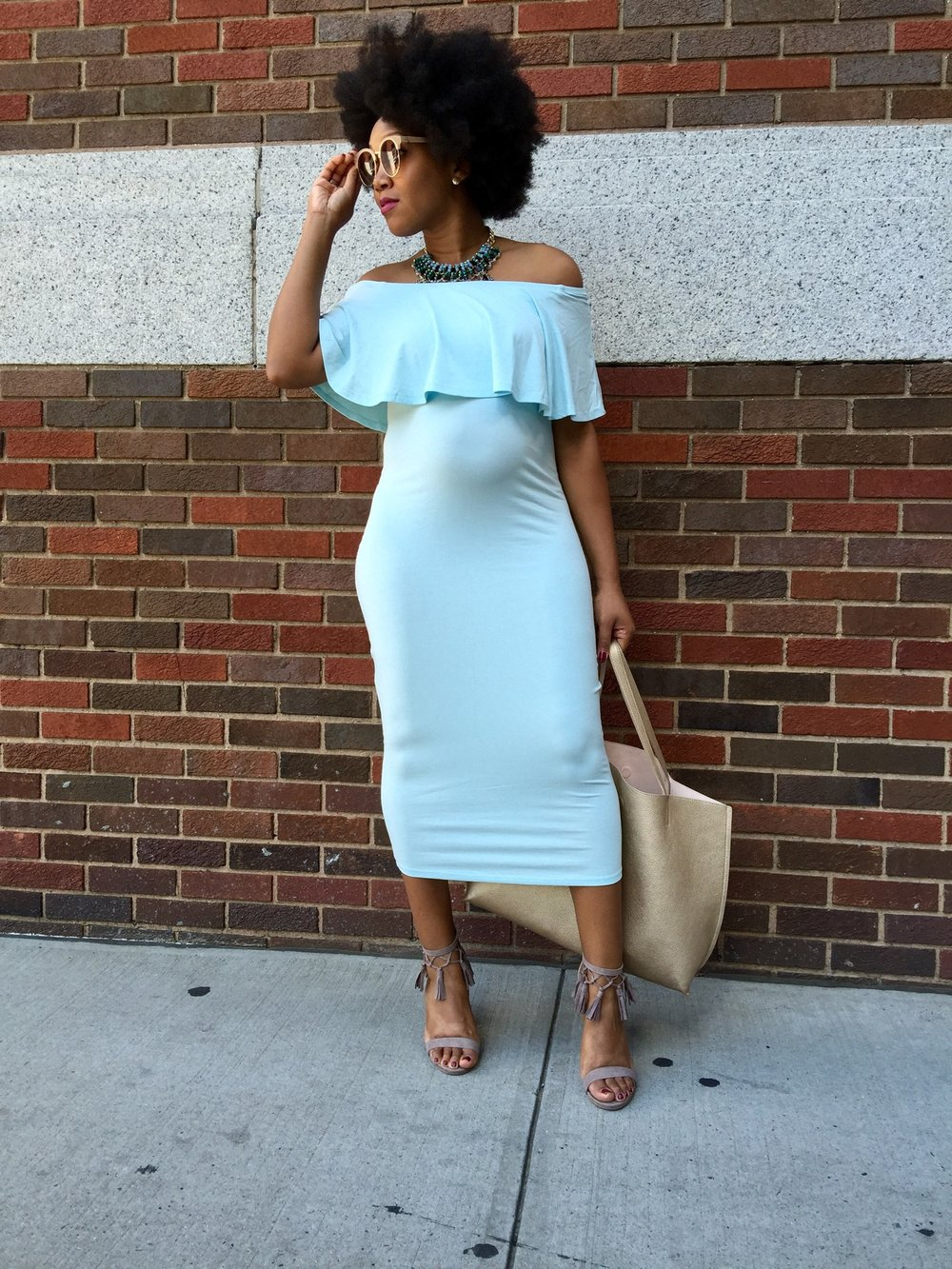 Nyfw series off the shoulder midi maternity dress luxeleblanc photo credit thee shopaholic thanks jessica xo ombrellifo Image collections