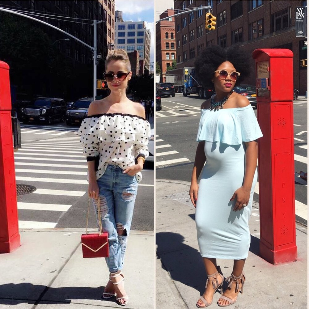 Stephanie  (The Style Bungalow)  & I twinning.