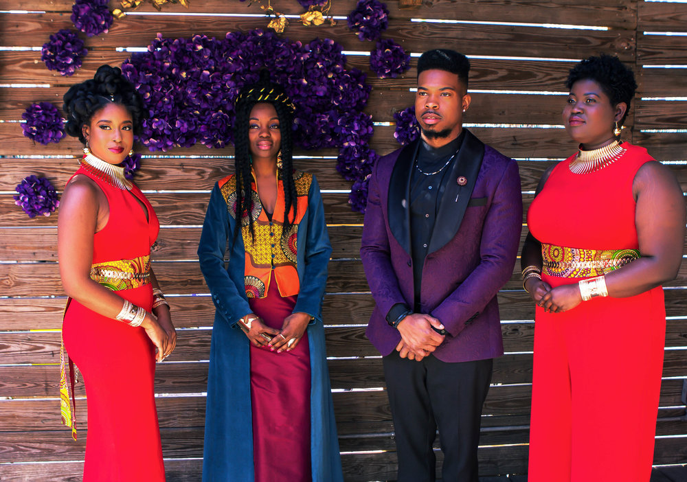 Luxe LeBlanc_Wakandan Wedding_Bridal Party Groom and officiant.jpg