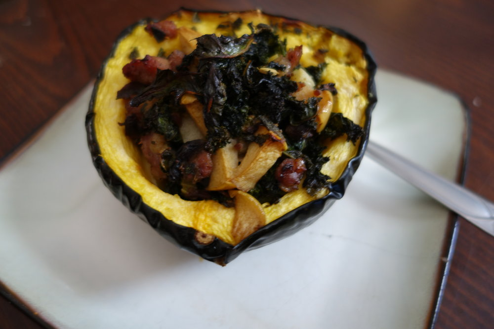 Acorn squash, stuffed with Sausage, Apple & Kale skillet (see Day 9 for recipe).