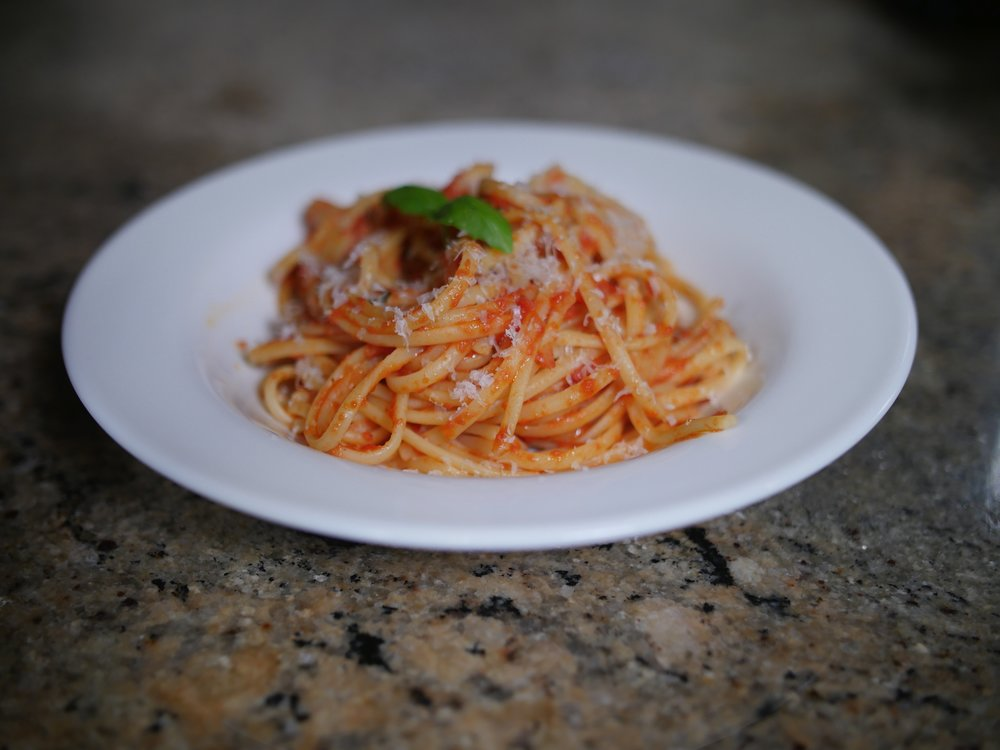 My classic marinara, served over linguine.