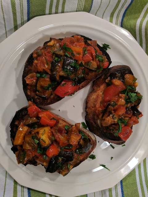 Caponata served over crostini