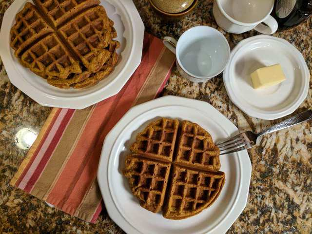 Pumpkin Waffles are a perfect fall breakfast!