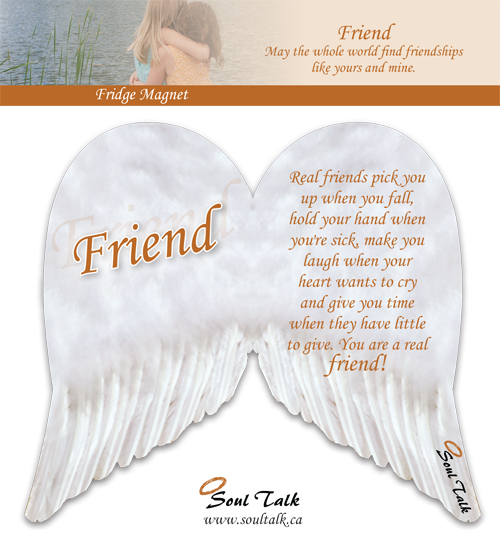 Angel wing fridge magnet friend