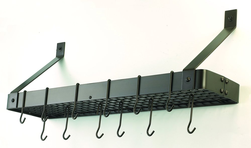 WallMount Bookshelf Pot Rack with Grid 12 Hooks Oiled Bronze