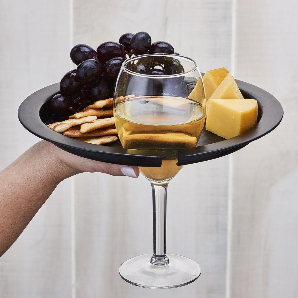 hammered matte black buffet plates with wine glass holder set of 4 rh olddutchco com