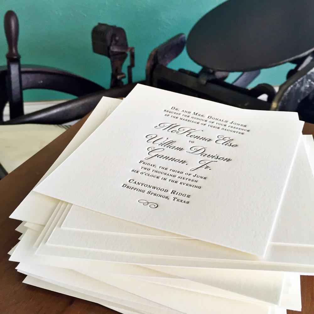 New Classic Wedding Invitations - Custom Letterpress — Rhapsody ...