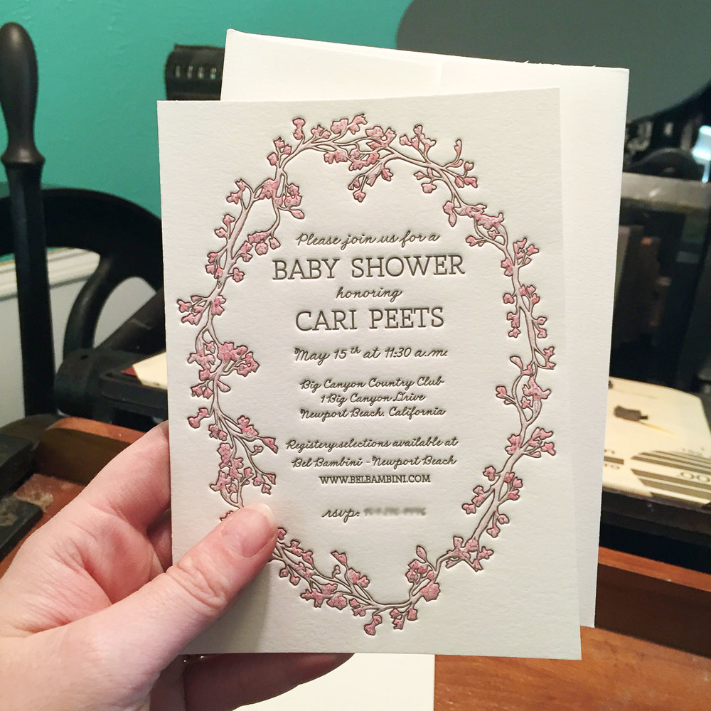 Cherry Blossom Shower Invitations — Rhapsody Letterpress