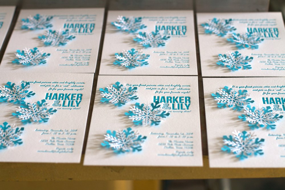 Snowflake Birthday Invitations Rhapsody Letterpress – Snowflake Birthday Invitations