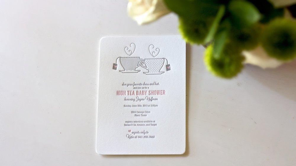 High Tea Baby Shower Invitations Rhapsody Letterpress