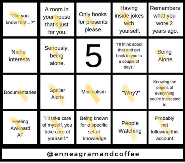 Bingo! I will clarify that my obsession with minimalism is mostly aspirational. Like, I love to study and fantasize about it, but in reality I am sort of a hoarder of antiques and art supplies- which is basically anything with history or potential. What's your's? @enneagramandcoffee