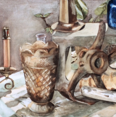 The second painting I ever created - a junk still life for my first painting class in 1993.  I painted over it with a copy of a Tintoretto in 1999