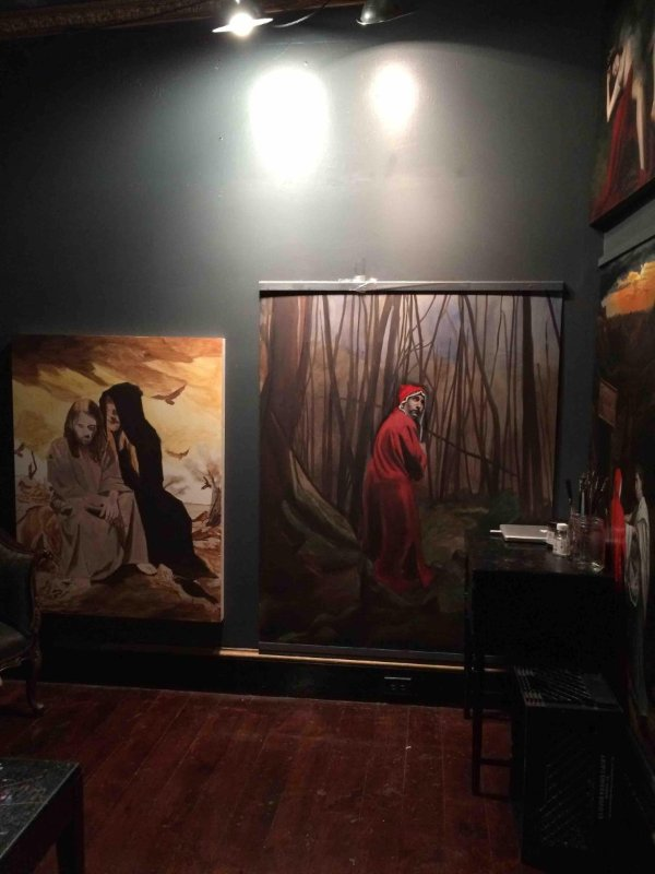 "My studio as of March 1.  Working simultaneously on Canto 1 and a copy of my painting ""The Temptation of Christ,"" commissioned by a collector."