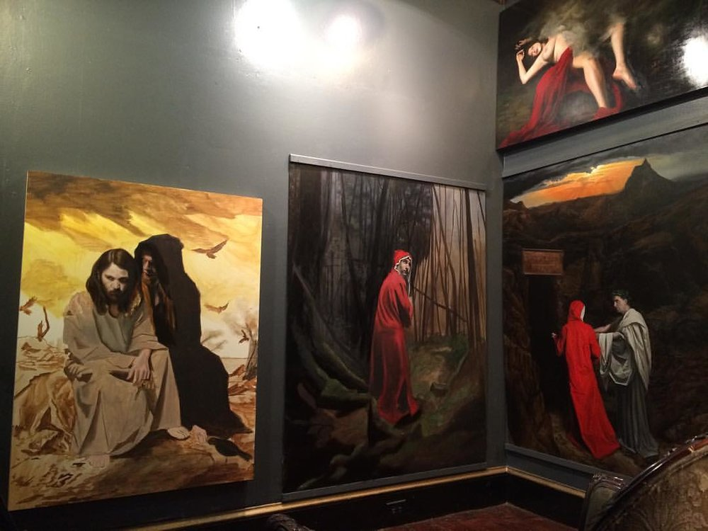 "My studio as of the morning of March 8, along side a commissioned copy of my painting ""The Temptation of Christ"""