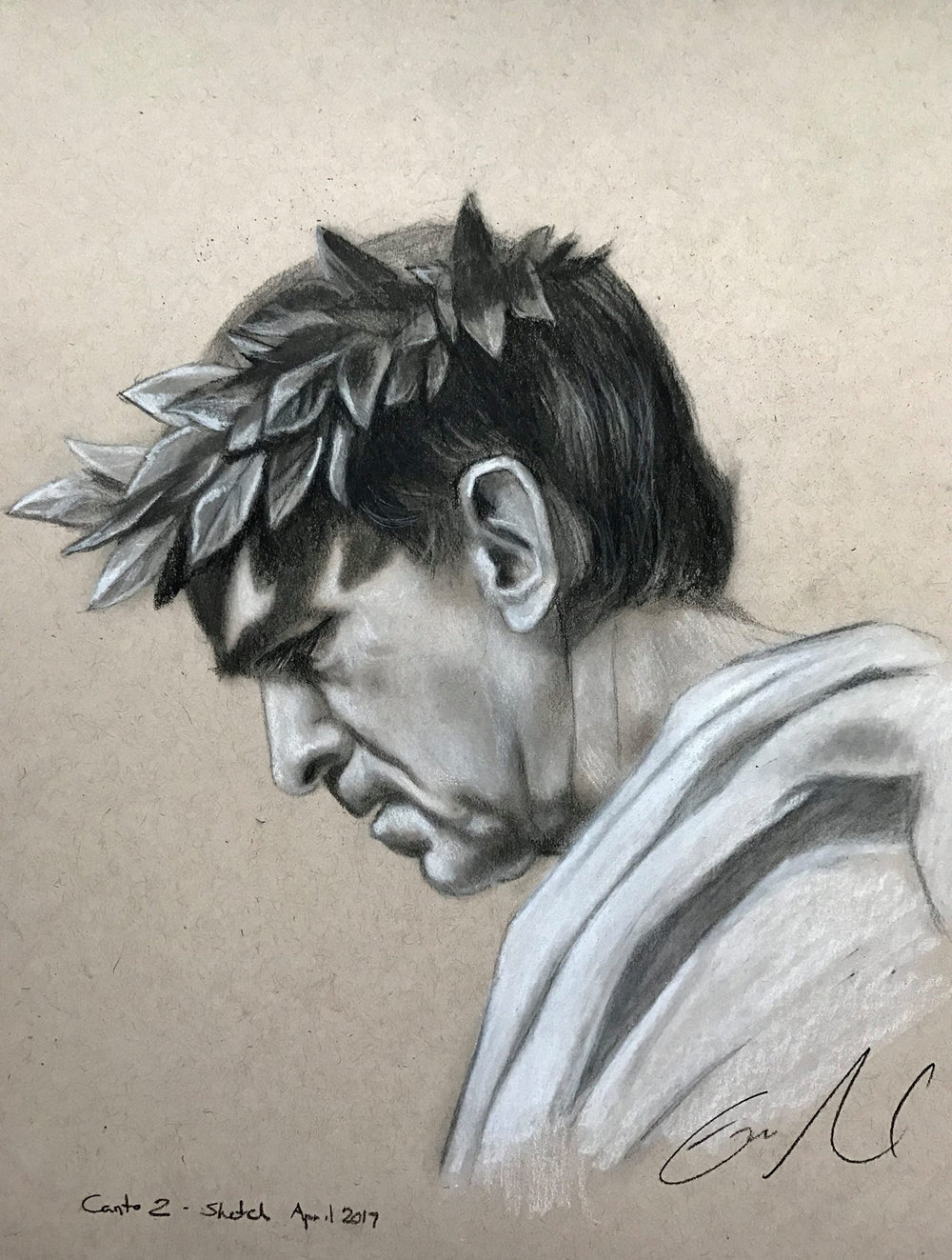 "Virgil - charcoal on toned paper, 9 x 12"" 2017"