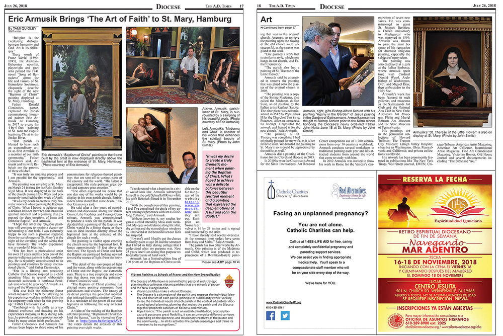 AD Times - July 22, 2018   Check out the two-page article featuring Eric's Baptism of Christ painting and some of the other paintings in the AD Times.  Click here to read the full article.