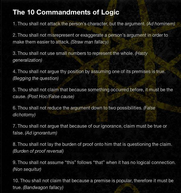 The 10 Commandments of Logic